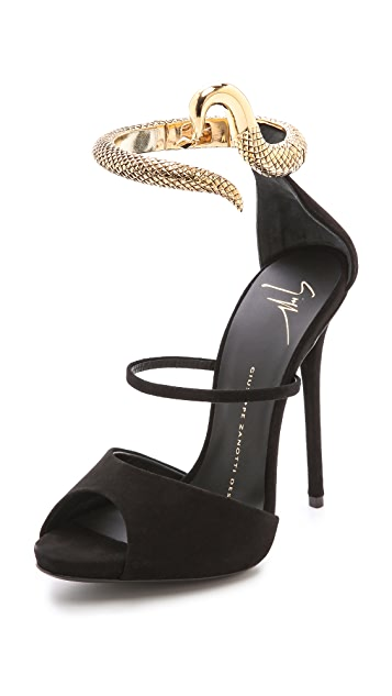 1b1bb65fb540 Giuseppe Zanotti Ankle Strap Snake Heels