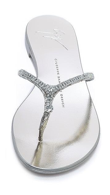 Giuseppe Zanotti Platinum Flat Sandals