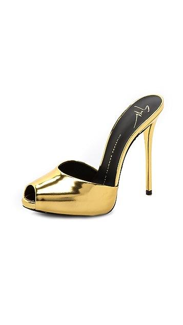 Giuseppe Zanotti Gold Peep Toe Heels