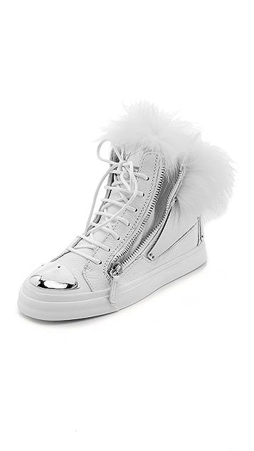 0cb6103ea2d7 Giuseppe Zanotti Leather   Fur Sneakers