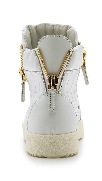 bc6c89ed47b7 ... Giuseppe Zanotti Croc Embossed Sneakers ...