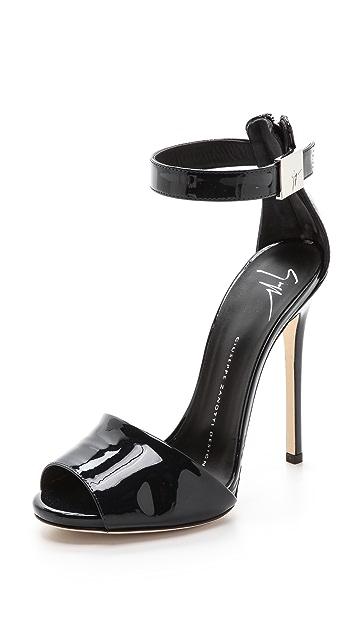 Giuseppe Zanotti Patent Peep Toe Sandals