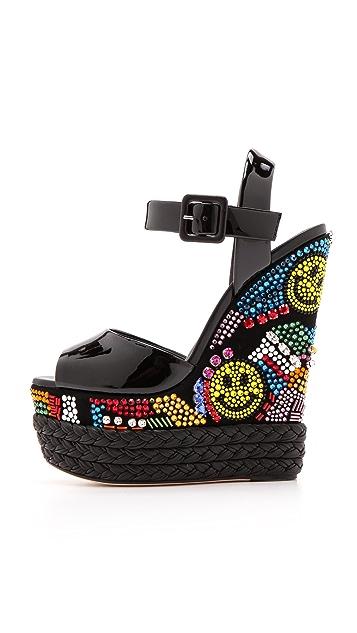 Giuseppe Zanotti Crystal Wedge Platform Sandals
