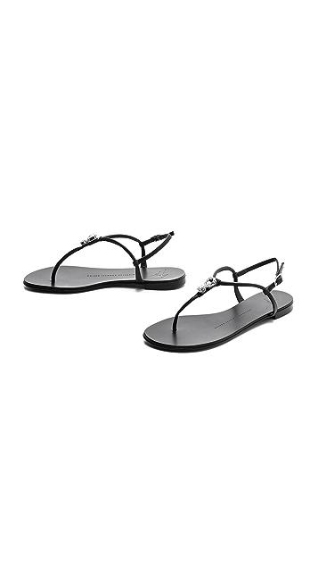 Giuseppe Zanotti Crystal T Strap Sandals