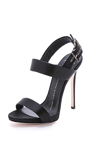 Giuseppe Zanotti Satin Sandals with Jeweled Buckle