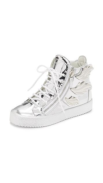 025411a6 Giuseppe Zanotti Кожаные кроссовки с крыльями | SHOPBOP
