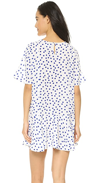 Glamorous White Blue Spot Dress