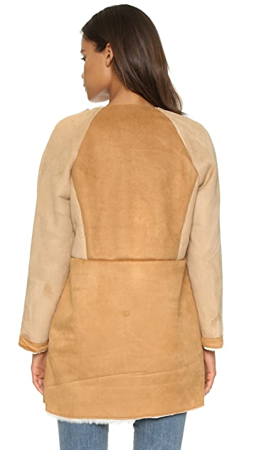 Glamorous Faux Shearling Collarless Jacket
