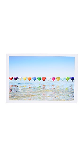 Gray Malin Up & Away Heart Balloons Photo Print