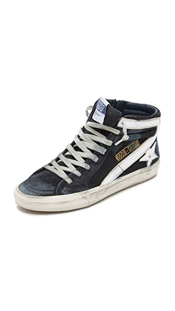 Golden Goose Navy Slide High-Top Sneakers Outlet Lowest Price kP4JQh0oT