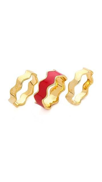 Gorjana Zigzag Enamel 3 Ring Set