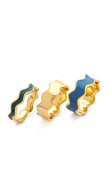Gorjana Zigzag Enamel 3 Ring Set