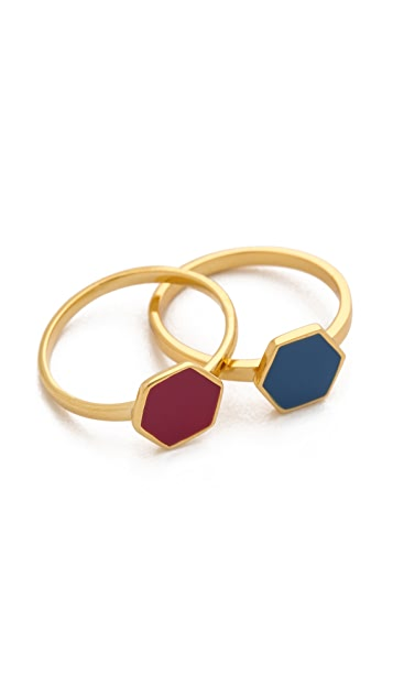 Gorjana Sunset Hexagon Ring Set