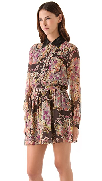 Gryphon Sequin Collar Shirtdress