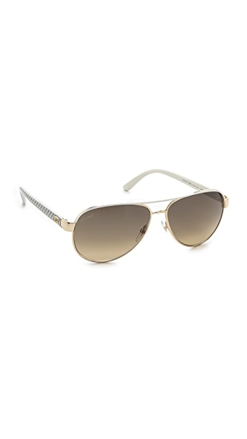3e561996c57 Gucci Aviator Sunglasses with Glitter Temples ...