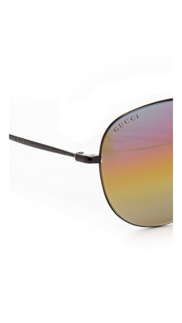 Gucci Rainbow Mirrored Aviator Sunglasses