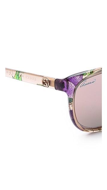 Gucci Солнцезащитные очки с цветочным узором