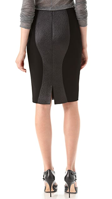 Hakaan Tonal Black Pencil Skirt