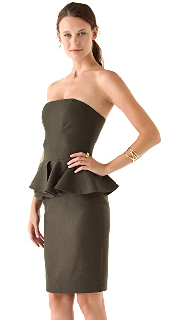 Hakaan Strapless Peplum Dress