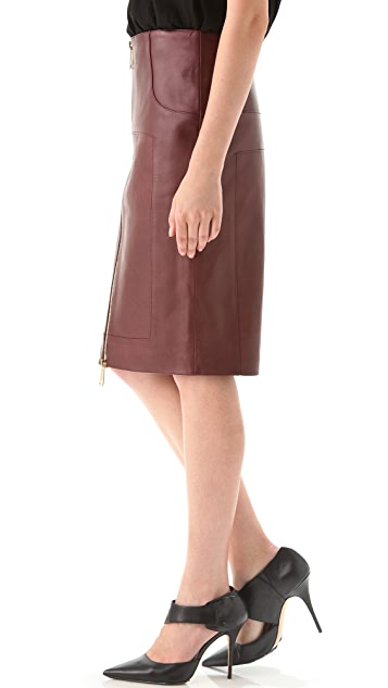 Hakaan Leather Zip Front Pencil Skirt
