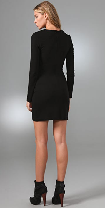 Halston Heritage Shirred Keyhole Day Dress