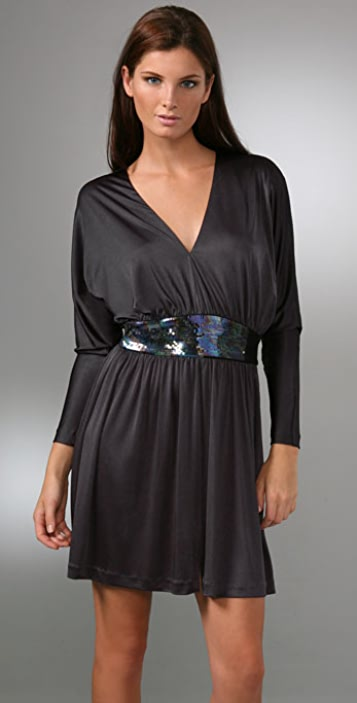Halston Heritage Cocktail Dress with Sequin Waistband