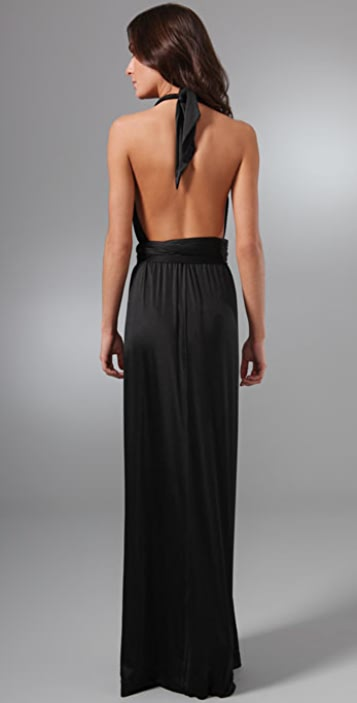 HALSTON Halter Long Dress