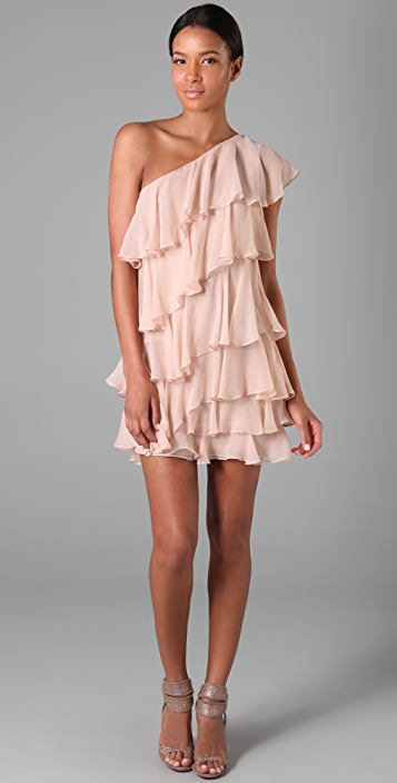 Halston Heritage Ruffle Chiffon Cocktail Dress