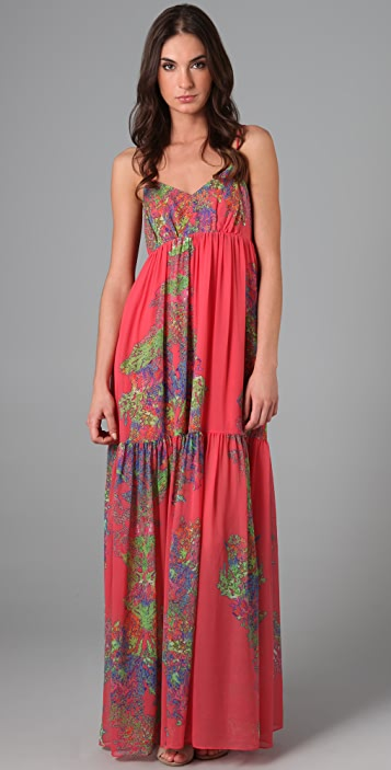 HALSTON Print Long Dress