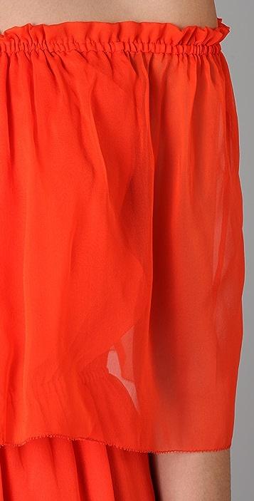 HALSTON Off Shoulder Cocktail Dress