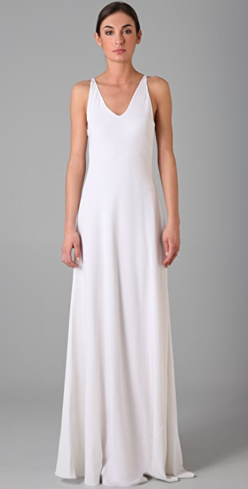 Halston Heritage Double V Long Dress