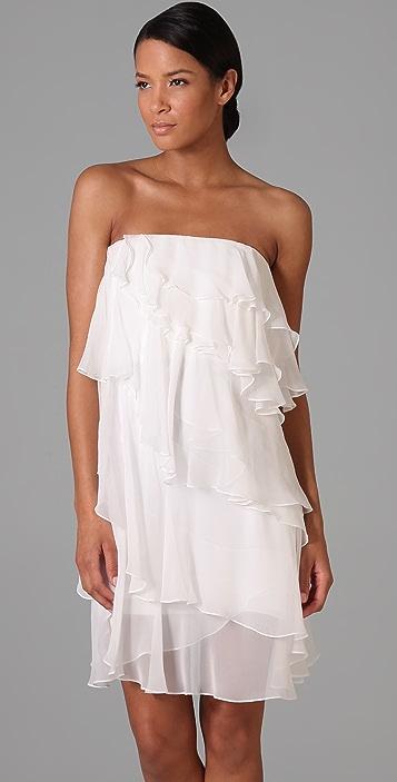 Halston Heritage Ruffle Strapless Dress