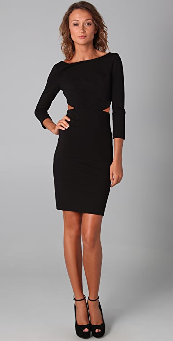 Halston Heritage Long Sleeve Cutout Dress
