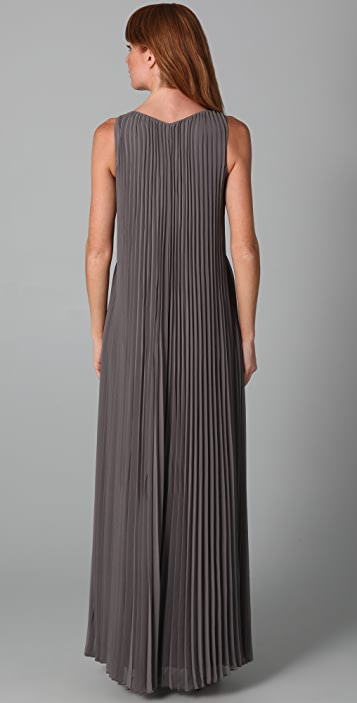 Halston Heritage Pleated Long Dress