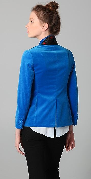 Halston Heritage Single Breasted Velvet Jacket