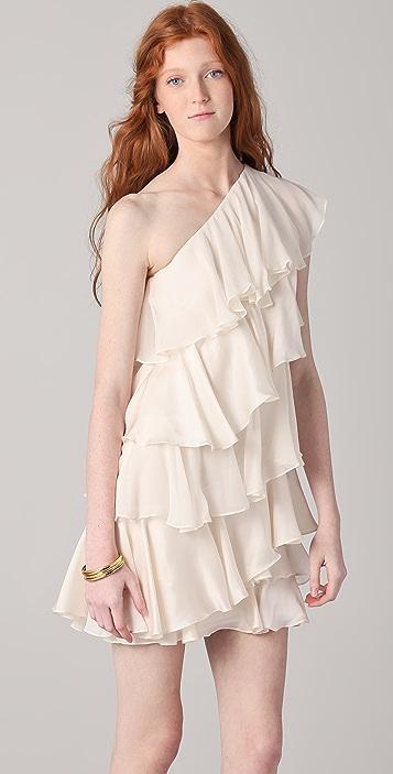 Halston Heritage One Shoulder Tiered Dress