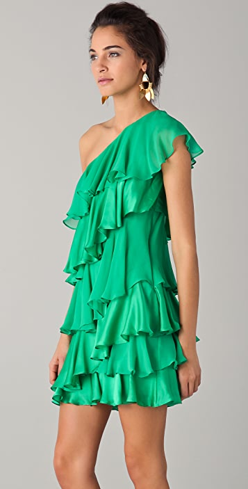 HALSTON One Shoulder Tiered Dress
