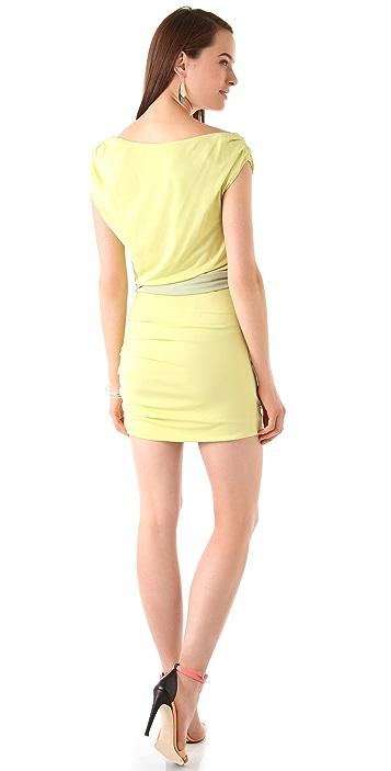 Halston Heritage Draped Shoulder Dress