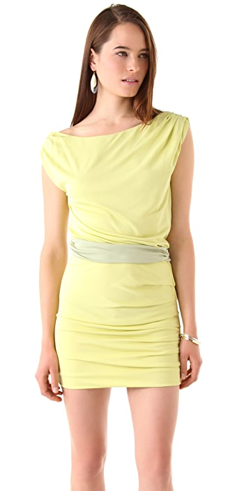 Halston Heritage Draped Shoulder Dress