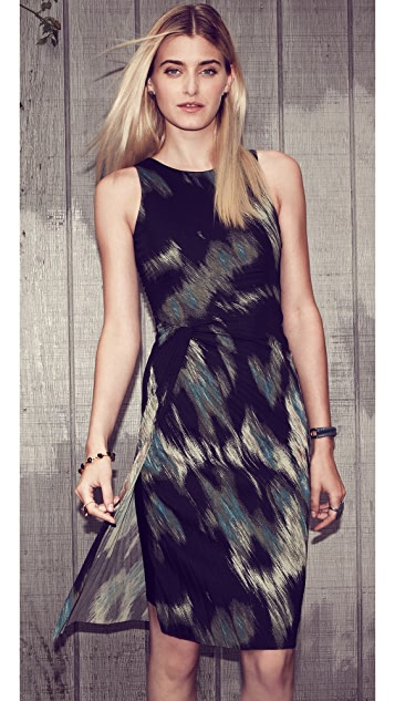 Halston Heritage Print Sheath Dress with Pleating