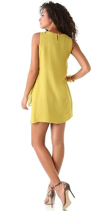 Halston Heritage Sleeveless Drape Front Dress