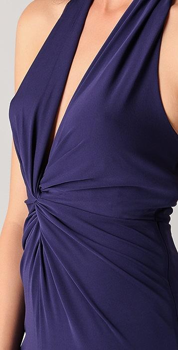 Halston Heritage Twist Front Halter Gown
