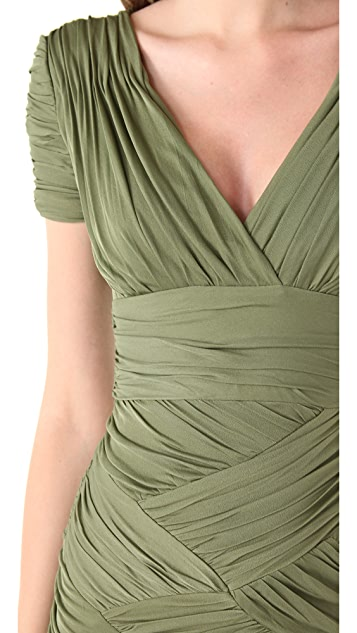 Halston Heritage Jersey Pleated Cap Sleeve Dress