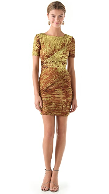 Halston Heritage Allover Pleated Dress