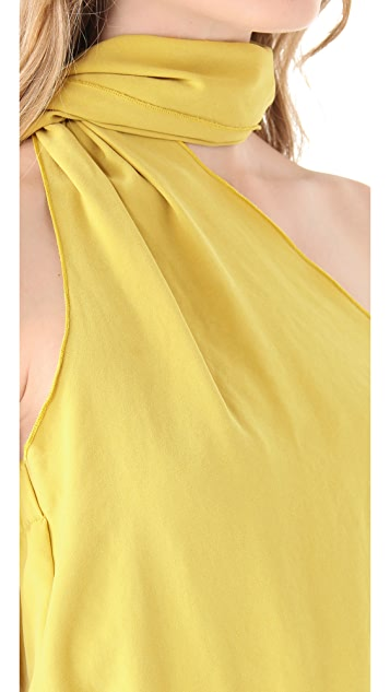 Halston Heritage One Shoulder Sash Top