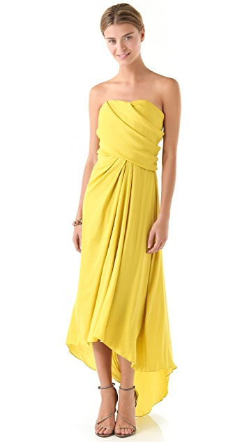 Halston Heritage Strapless Draped Gown