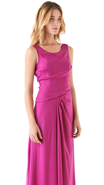 Halston Heritage Drape Side Scoop Back Gown