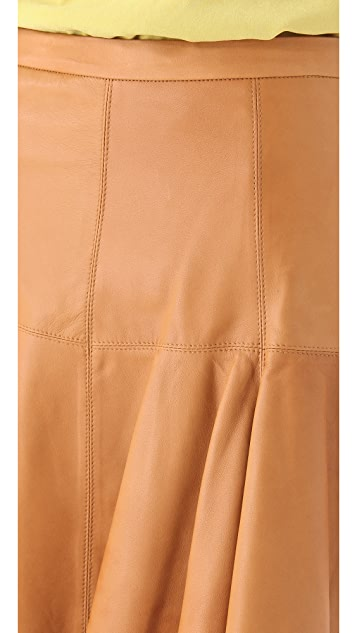 Halston Heritage Flared Leather Skirt