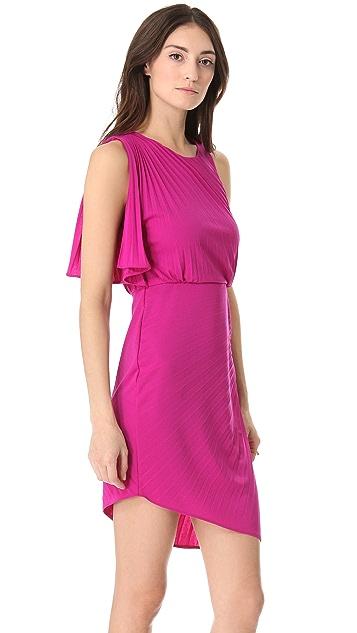 Halston Heritage Pleated Asymmetrical Dress