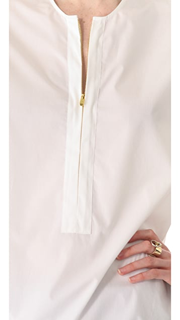 Halston Heritage Zip Front Drawstring Shirt